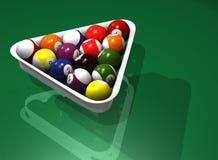 Fünfzehn Billiardkugeln Stockbild