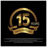 Fünfzehn Jahre Jahrestag golden Jahrestagsschablonenentwurf für Netz, Spiel, kreatives Plakat, Broschüre, Broschüre, Flieger, Zei stock abbildung