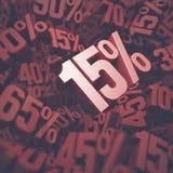 Fünfzehn Prozent-Rabatt Stockbild