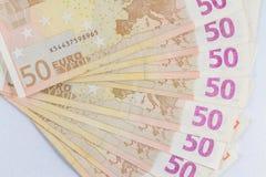 Fünfzig â '¬50 Euroanmerkungen heraus aufgelockert Lizenzfreies Stockbild