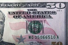 Fünfzig Dollar Banknote Stockfotos