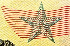 Fünfzig Dollarscheinabschluß oben mit einem Stern stockfoto