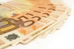 Fünfzig Eurobanknoten Stockbild