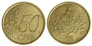 Fünfzig Eurocents Stockfotografie