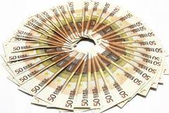 Fünfzig Eurorechnungen Stockfotografie