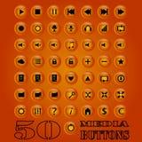 Fünfzig Medien Knopfsatz Vektor ENV 10 Vektor Abbildung