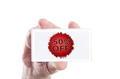 Fünfzig oder 50 Prozent heruntergesetzt Kuponkarte Lizenzfreie Stockfotos