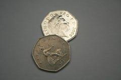 Fünfzig Pennys stockbilder