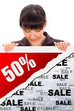 Fünfzig-Prozent-Rabatt Stockfoto
