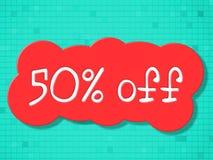 Fünfzig Prozent zeigt weg Einsparungen billig und Promo an lizenzfreie abbildung