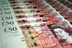 Fünfzig Teiche Sterlingsbanknote Stockfoto
