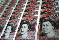 Fünfzig Teiche Sterlingsbanknote Stockbilder