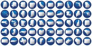 Fünfzig Zustände knöpfen Set Stockbilder