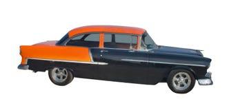 Fünfzigerjahre schwarz und orange hotrod stockfotos