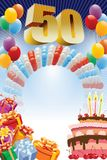 Fünfzigstes Geburtstagsplakat lizenzfreie stockfotografie