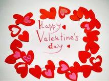 Für glücklichen Valentinstag und Herzen der Valentinstagaufschrift vektor abbildung