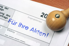 Für Ihre Akten - Stempel. Rubber stamp Für Ihre Akten (german) - for your documents Stock Photography