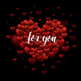 Für Sie übergeben Sie Beschriftungs-Gruß auf rotem Herzen Romantisches Zitat BR Lizenzfreies Stockfoto