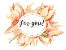 Für Sie kardieren Sie mit Aquarellblättern und -blumen Blumeneinladung Stockfotografie