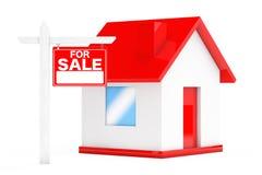 Für Verkaufs-Real Estate-Zeichen mit einfachem Haus Wiedergabe 3d Stockfotos
