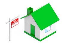 Für Verkaufs-Real Estate-Zeichen mit einfachem Haus Wiedergabe 3d Lizenzfreie Stockfotografie
