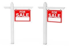 Für Verkaufs-Real Estate-Zeichen Wiedergabe 3d Stockbilder