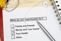 Für was sind Sie die meisten dankbar? stockbild