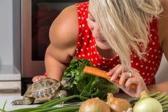 Fütterungsschildkröte des netten Mädchens mit römischem Salat und Karotte Lizenzfreie Stockfotografie