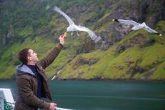 Fütterungsseemöwen des Mannes Fliegen über der Fähre lizenzfreies stockfoto