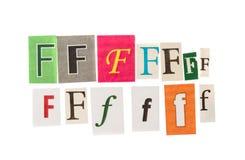 F被设置的题字信件 库存图片