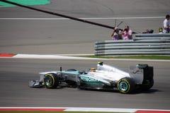 F1 τύπος 1 οδηγός Lewis Χάμιλτον φωτογραφιών της Mercedes Στοκ Φωτογραφία
