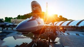 F-16军用喷气式歼击机 军事基地 日落 3d翻译 免版税库存图片