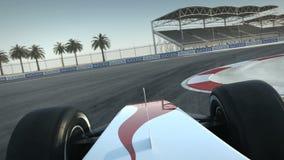 F1在沙漠电路-司机` s POV的赛车 库存例证