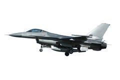 F-16在白色背景隔绝的战争飞机 免版税库存图片