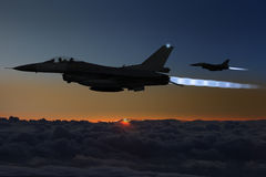 F-16夜间战斗机 免版税库存照片