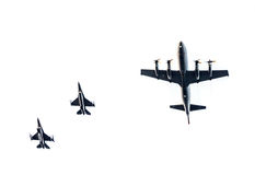 F-16战斗机猎鹰和P-3c猎户星座 库存图片