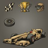 F1汽车体育集合符号 皇族释放例证