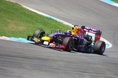 F1照片-一级方程式赛车红色公牛汽车:赛巴斯蒂安・维泰尔 免版税库存照片
