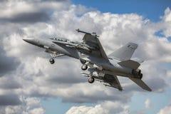 F/A-18超级大黄蜂航空器 库存图片