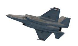 F 35,美国军用战斗机 喷气机 在云彩的飞行 库存例证