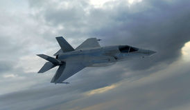 F 35,美国军用战斗机 喷气机 在云彩的飞行 向量例证