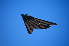 F-117A Stealth with American Flag. F-117A Stealth Fighter with american flag painted underneath. Captured at Edwards Air Force Base Royalty Free Stock Photos