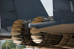 F-15 Eagle jet efflux. Rear part of two F-15 Eagle engines stock photography