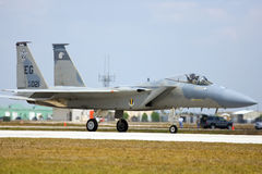 An F-15 Strike Eagle taxiing. Punta Gorda, Fl.- March 21: A U.S. Air Force F-15 Strike Eagle fighter jet taxiing to take off during the Florida International Royalty Free Stock Photo