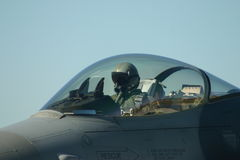 F-16. Pilot in the cockpit of f-16 ready for take-0ff Stock Photo