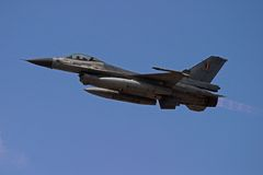 F-16 Afterburner. During take off for the presentation on the national holiday royalty free stock photo