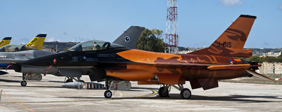 F-16 de forces aériennes des Pays-Bas Demoteam images libres de droits