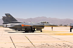 F-16 Falcon fighter jets. F-16 fighter jet taxis prepare to take off at Luke Air Force Base royalty free stock image