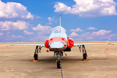 F 16 fighter aircraft against blue sky Royalty Free Stock Photo