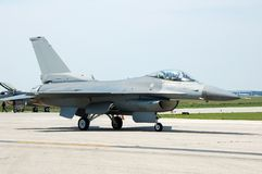 F-16 Fighter jet. F-16 jetfighter on runway for takeoff Stock Photography